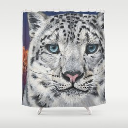 Beast and Beauty - Snow Leopard Oil Painting by Ashley Lane Shower Curtain