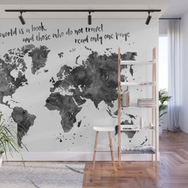 The world is a book, world map in black watercolor Wall Mural