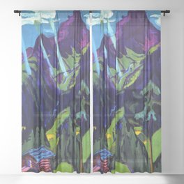 Mountain Landscape in the Sun by Ernst Ludwig Kirchner Sheer Curtain