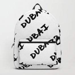 'Dubai' Hand Letter Type Word Black & White Backpack