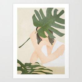 Under the Monstera Leaf Art Print