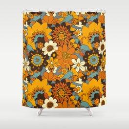 70s Retro Flower Power 60s floral Pattern Orange yellow Blue Shower Curtain