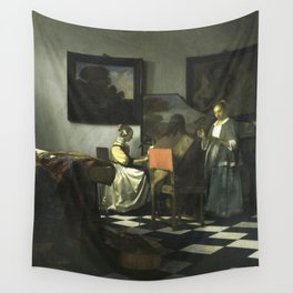 Stolen Art - The Concert by Johannes Vermeer Wall Tapestry