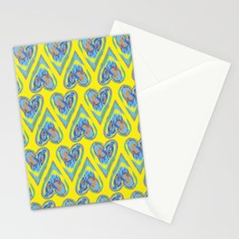 Hearts on Yellow Stationery Cards