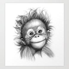 Monkey - Baby Orang outan 2016 G-121 Art Print