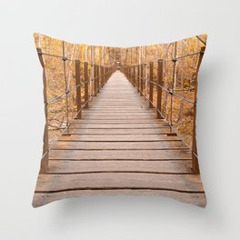 Golden Grove Suspension Bridge Throw Pillow