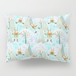 Blue Christmas - From ice skating deers Pillow Sham