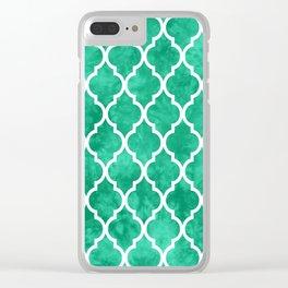 Classic Quatrefoil Lattice Pattern 908 Mint Green Clear iPhone Case