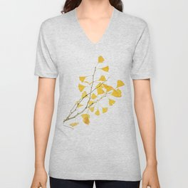 branch of ginkgo biloba Unisex V-Neck