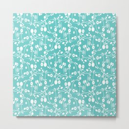 Turquoise Blue Floral Pattern Metal Print
