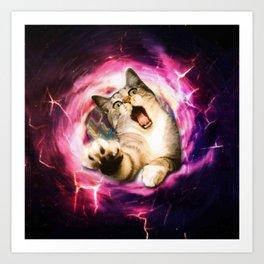 Galaxy Cat Hole Art Print
