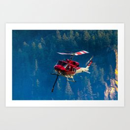 Helicopter fighting fires Art Print