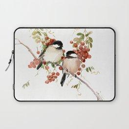 Chickadee Bird Vintage Bird Artwork, two birds, chickadees woodland design Laptop Sleeve