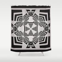 labyrinth Shower Curtains featuring Labyrinth by 13Halliwell