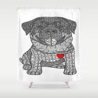 rottweiler Shower Curtains featuring Courageous Heart- Rottweiler by DiAnne Ferrer