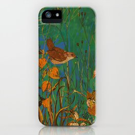 Winter Glimpses - Wren and Physalis iPhone Case