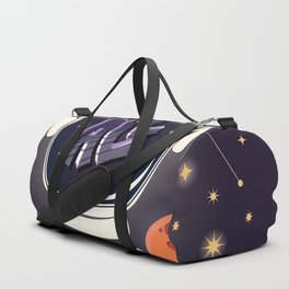 We are all made of stars, typography modern poster design with astronaut helmet and night sky Duffle Bag