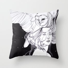Woman with Owl Familiar Throw Pillow