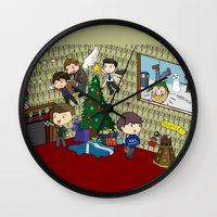 johnlock Wall Clocks featuring SuperWhoLock Christmas by Rebecca McGoran