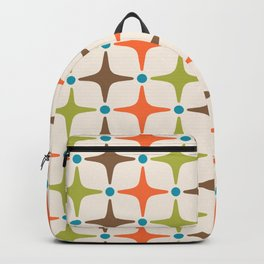 Mid Century Modern Star Pattern 814 Brown Orange Turquoise Chartreuse Backpack