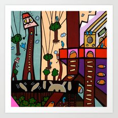 ANOTHER BUSY DAY at the BLUEBIRD EXCAVATION COMPANY Art Print