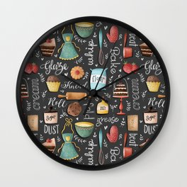 Bake Love Pattern Wall Clock