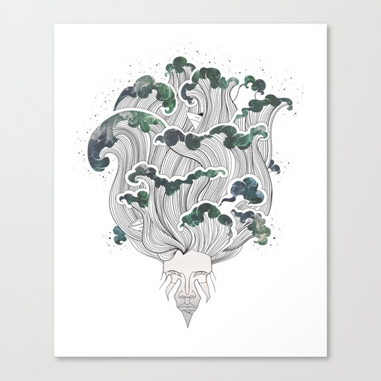 Storming mind | White Canvas Print