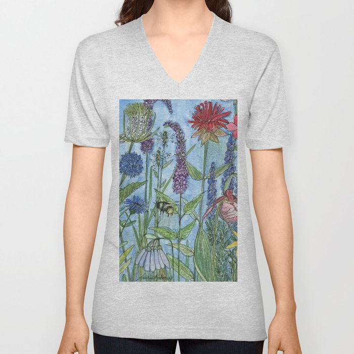 Watercolor Garden Flower Botanical Wildflowers Lady Slipper Orchid Unisex V-Neck