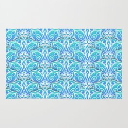 Decorative Layers of Blue Flowers Rug