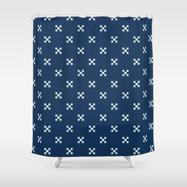 Ditsy Square Motif Grid Japanese Style Hand Drawn Shower Curtain