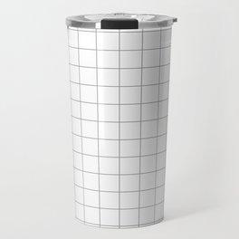 grey white grid Travel Mug