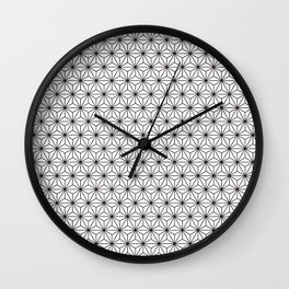 Black/White Japanese Hemp Kimono Pattern Wall Clock