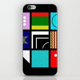 Eclectic 1 - Random collage of 9 bold colourful patterns in an abstract style iPhone Skin