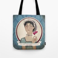 jane austen Tote Bags featuring Jane Austen said... by Mrs Peggotty
