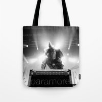 hayley williams Tote Bags featuring Hayley Williams by Ethan Luck