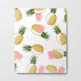 Pineapples & Pine Cones #society6 #decor #buyart Metal Print