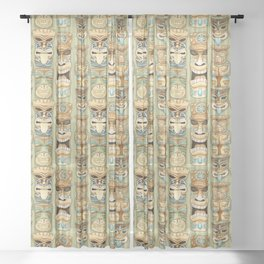 Tropical Hawaiian Deluxe Tiki Party Pattern Sheer Curtain