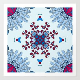 blue and red pattern Art Print