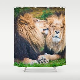 Ooh Yeah, Right There (digital painting) Shower Curtain