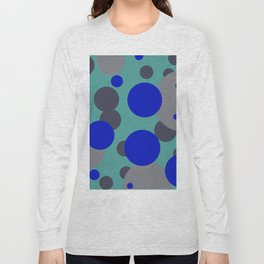 bubbles blue grey turquoise design Long Sleeve T-shirt