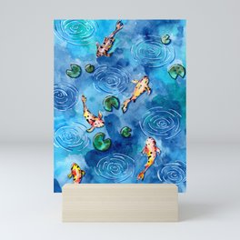 Koi Fish Pond in the Rain Mini Art Print