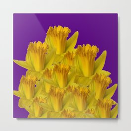 ROYAL PURPLE YELLOW SPRING DAFFODILS Metal Print