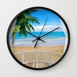 Balcony with a Beach Ocean View Wall Clock
