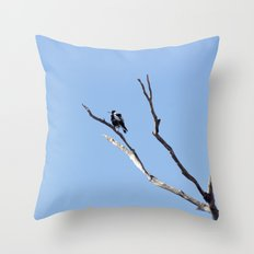 The Magpie that Comes and Goes Throw Pillow