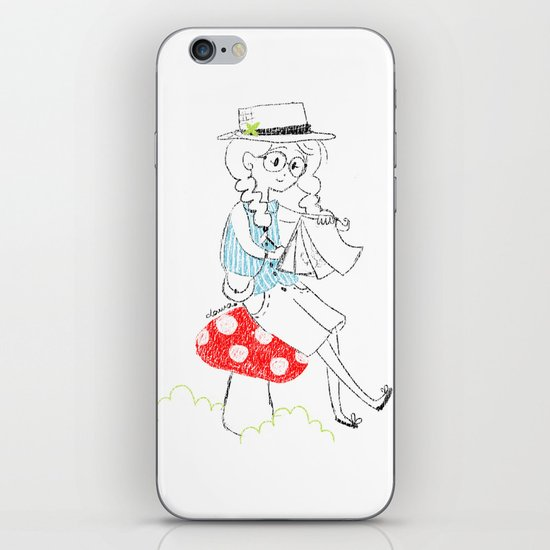 Girl drawing. iPhone & iPod Skin