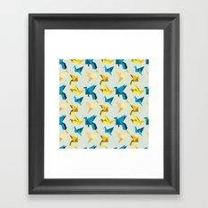 paper cranes in flight Framed Art Print