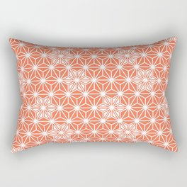 Japanese Asanoha or Star Pattern, Pastel Coral and White Rectangular Pillow