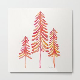 Pine Trees – Pink & Peach Ombré Metal Print