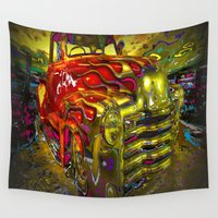 truck Wall Tapestries featuring colorful classic truck by Vector Art
