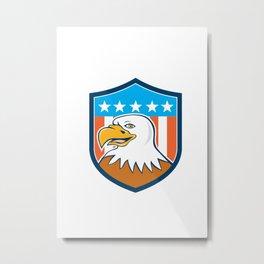 American Bald Eagle Head Smiling Flag Cartoon  Metal Print